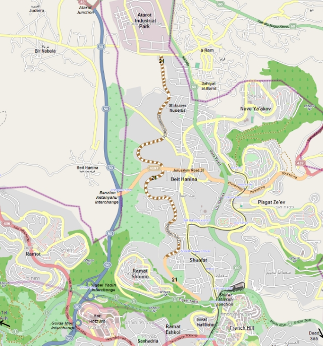 מתוך ויקיפדיה. תוואי כביש 21 במזרח ירושלים