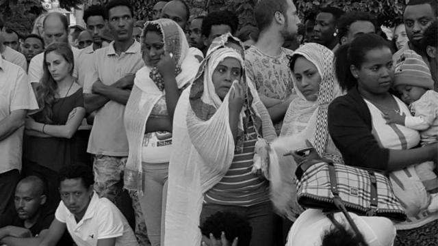 טקס זיכרון ומחאה על מותו של הבטום זרהום. צילום: יהודית אילני