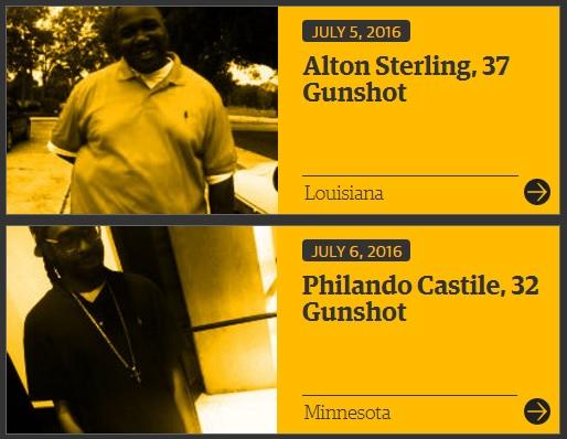 """אלטון סטרלינג (בתמונה למעלה) ופילנדו קסטילה (בתמונה למטה). לקוח מהאתר '' של הגארדיאן, המספק נתונים על מוות אזרחים בידי שוטרים בארה""""ב."""
