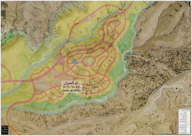 על המפה: היישוב הבדואי אום אל חיראן ותוכנית המתאר של היישוב הקהילתי-דתי חירן שמתוכנן להיבנות על חורבותיו.